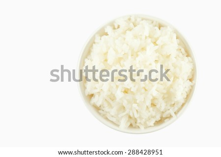 rice in a bowl on white background.