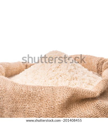 Rice in a gunny sack over white background