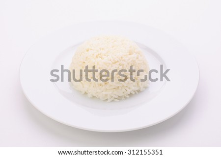 Rice in a plate on a white background