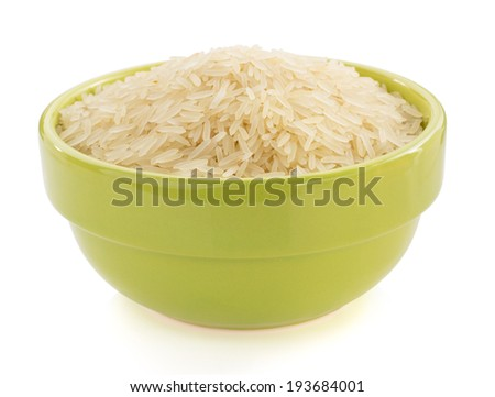 rice in bowl isolated on white background - stock photo