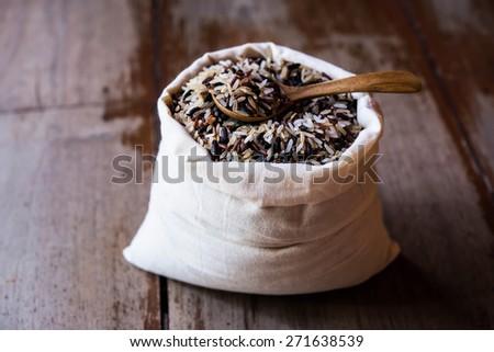 Rice in sack - stock photo