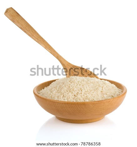 rice in wooden plate and spoon isolated on white background - stock photo