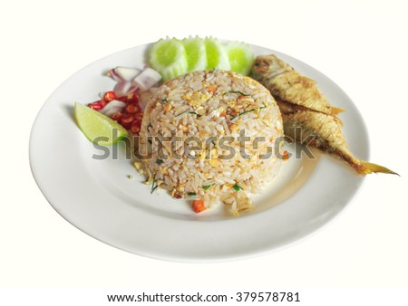 Rice Mixed with chili paste fried fish, vegetable Thai food - stock photo