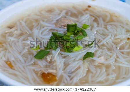 rice noodle soup with fish food - stock photo