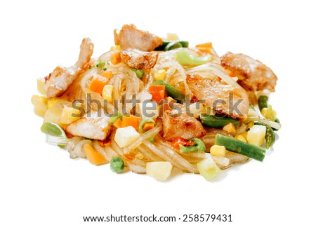 Rice noodles funchoza with chicken on a white background - stock photo