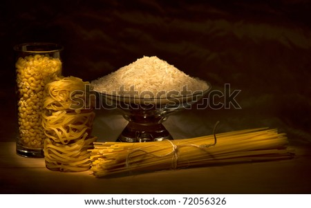 Rice, noodles, macaroni, spaghetti together - stock photo