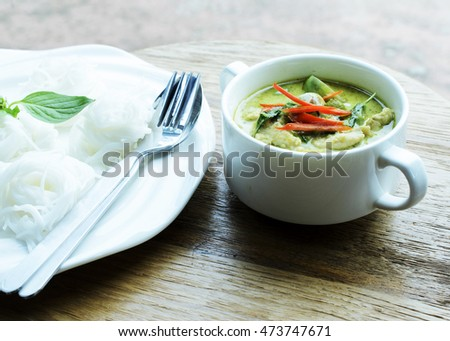 Rice noodles with chicken green curry the famous Thai food menu