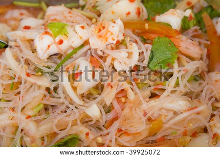 Rice noodles with seafood - stock photo