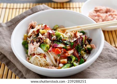 Rice noodles with tuna, chinese food - stock photo