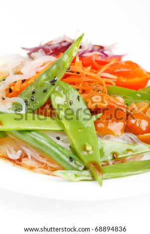 rice noodles with vegetables - stock photo