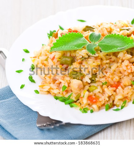 rice on plate - stock photo