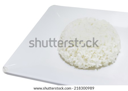 Rice on white dish