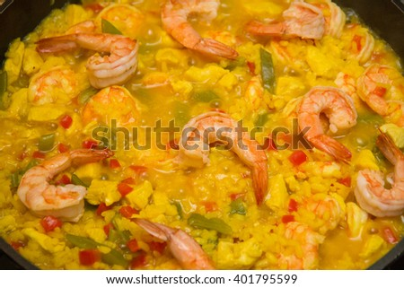 rice paella with seafood - stock photo