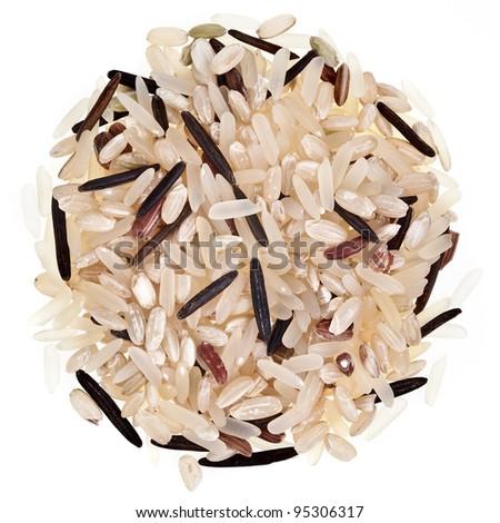 rice pile isolated on white background - stock photo