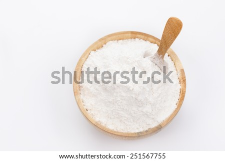 Rice powder in wooden bowls. - stock photo