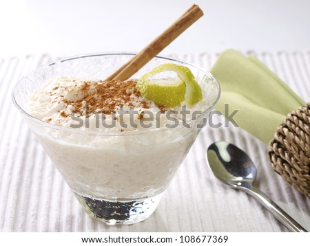Rice Pudding � Arroz con leche.  Spanish version of the rice pudding. Made with milk, rice,  sugar, and cinnamon. - stock photo