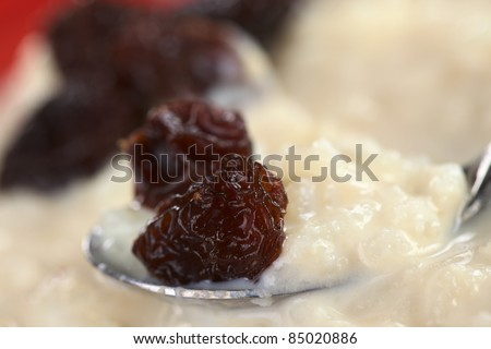 Rice pudding with raisins on spoon (Selective Focus, Focus on the front of the raisin on the spoon)