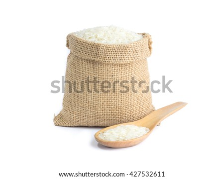 Rice sack on white background