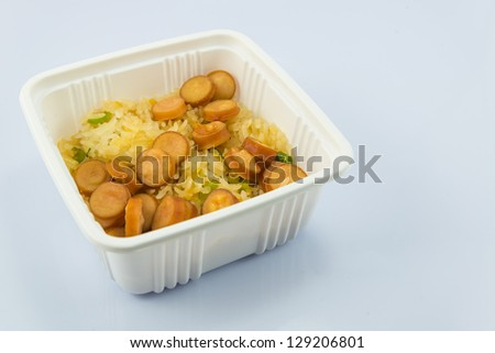 Rice&Sausage on white backgrounds. - stock photo