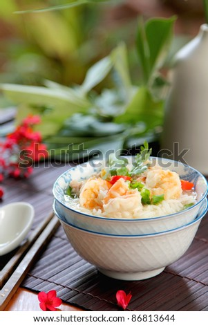 Rice soup with prawn and mince pork - stock photo