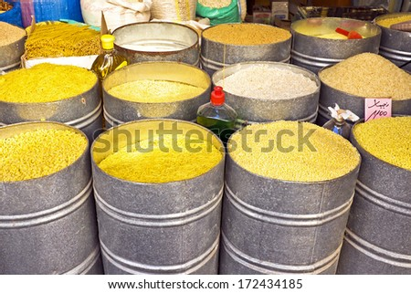 Rice, spaghetti, noodles in big tons on a market in Morocco Africa - stock photo