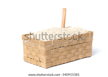 Rice suffocating Malik in your basket isolated on white background. - stock photo