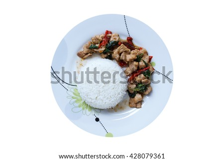 Rice topped with stir-fried pork and basil isolated on white background, Top view - stock photo