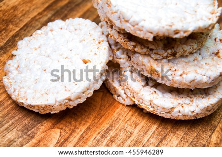 Rice waffles on wooden table - stock photo