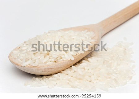 rice with a wooden spoon on a white background