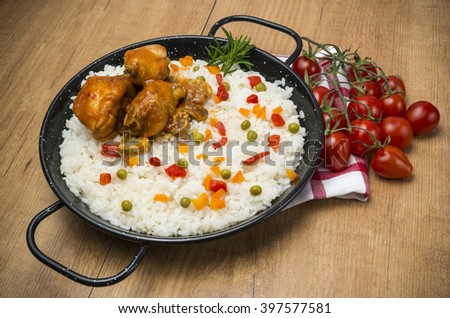 Rice with chicken - stock photo