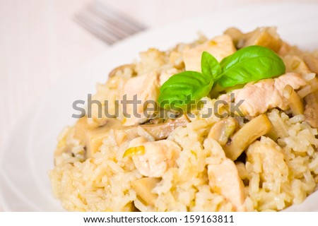 Rice with Chicken and Mushrooms - stock photo