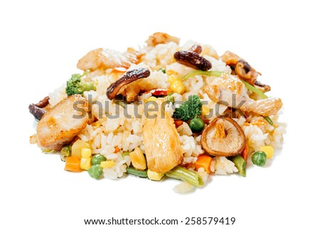 Rice with chicken on a white background - stock photo