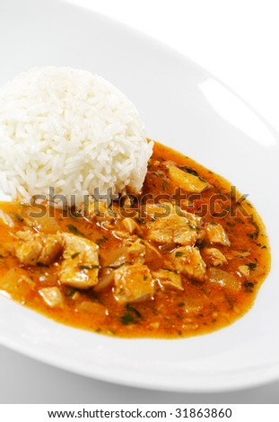 Rice with Chicken Stew Plate. Isolated on White Background - stock photo