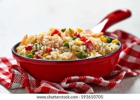 Rice with corn, pea, pepper and shrimps