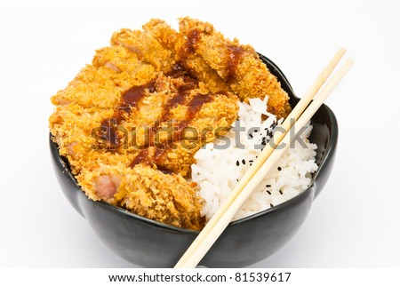 rice with fried chicken on white background - stock photo
