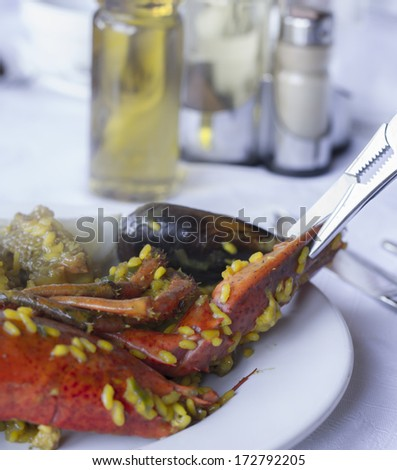 Rice with lobster typical of Spain on white plate and white tablecloth - stock photo