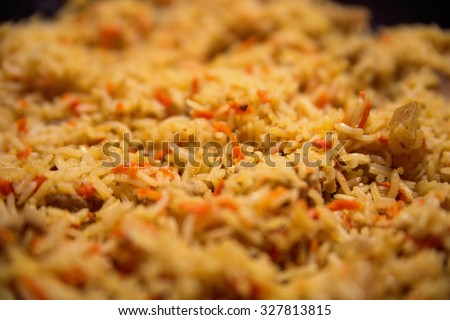rice with meat, pilav - stock photo