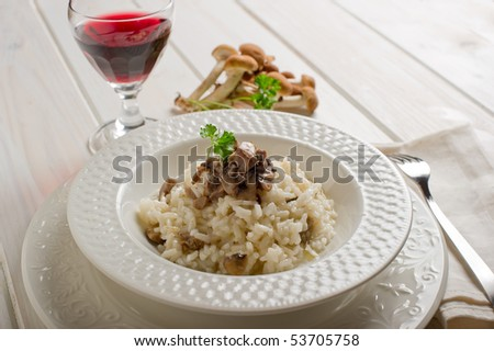 rice with mushroom on dish