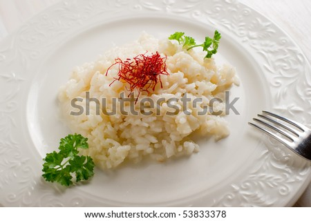 rice with natural pistil saffron - stock photo