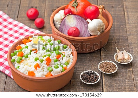 rice with peas and vegetable - stock photo