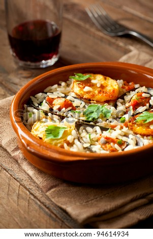 Rice with Potatoes and Mussels, a Traditional Dish from Apulia, Italy - stock photo