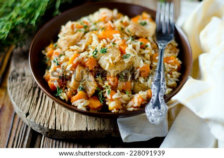 Rice with pumpkin and fish