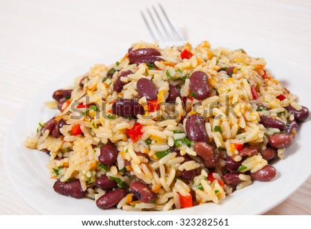 rice with red beans and vegetables - stock photo