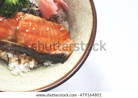 Rice with salmon and seaweed japanese food