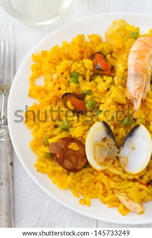 rice with seafood in plate