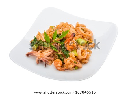 Rice with seafood isolated on white