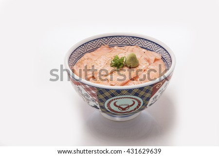 Rice with smoked salmon and egg - stock photo