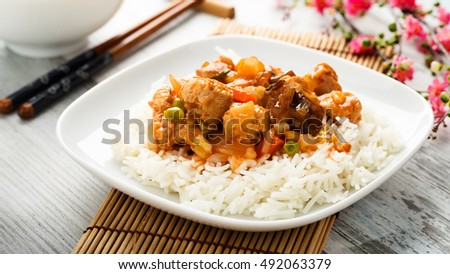 rice with sweet and sour vegetables and soy chunks