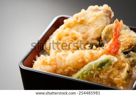 rice with tempura  - stock photo
