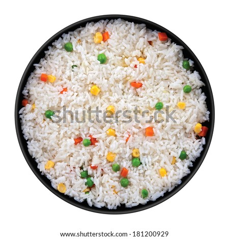 Rice with vegetable in black plate isolated on white